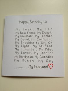 Husband Birthday Cards Husband Birthday and Birthday .- Husband Birthday Cards Husband Birthday and Birthday Cards on Handmade Birthday Card Ideas - 30th Birthday Cards, Birthday Cards For Boyfriend, Birthday Gifts For Husband, Diy Gifts For Boyfriend, Handmade Birthday Cards, Happy Birthday Me, Birthday Presents, Birthday Wishes, Quotes For Birthday Cards