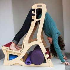 Antigravity Chair: flat pack yoga chair by Lindsay Simone Nevard, via Behance Yoga Equipment, No Equipment Workout, Back Strengthening Exercises, Difficult Yoga Poses, Anti Gravity Yoga, Mudras, Yoga For Stress Relief, Yoga Props, Chair Yoga