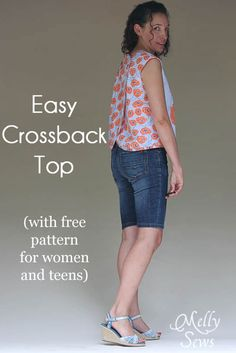Love this Crossback Top for Summer - Melly Sews featuring Modern Yardage fabric - free pattern!