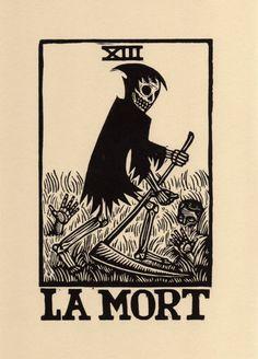 La Mort  The Death Card Tarot Linoleum Block Print by HorseAndHare                                                                                                                                                                                 Plus