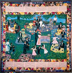 Artist Name:  Faith Ringgold | Nationality & Life Dates:  American, born 1930  | Title:  Church Picnic Story Quilt  | Date:  1988  | Medium:  Tie-dyed, printed fabrics, acrylic on cotton canvas |  Dimensions:  74 1/2 x 75 1/2 inches |  Credit Line:  Gift of Don and Jill Childress through the 20th Century Art Acquisition Fund  Accession Number:  1988.28