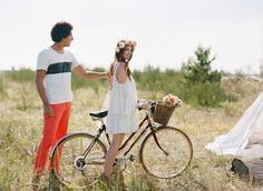 Bohemian engagement photo shoot Floral crown & flowers by the flower factory Makeup by Carol hung Photography by Nadia hung Hair by Emily hedman Shot with film  Boho bride boho bohemian headpiece  Teepee bouquet bicycle bike vintage