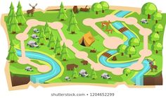 Forest Jungle Game Maps with Path and Soft Green land with Bear, Mouse Deer, Tent, Rivers, stone and Trees for Platform Vector Illustration