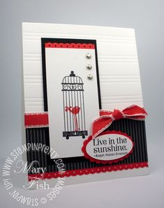 1/2   Red, Black and White, the perfect colour combo!  ♥ this Stampin' Up! Aviary card by Mary Fish, check out the video tutorial