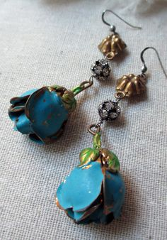 'blue roses' vintage assemblage earrings by The French Circus on Etsy, $64.00