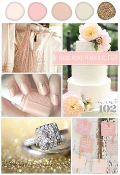 @Kirsten Wehrenberg-Klee Wehrenberg-Klee Olson  ive been to the end of pinterest and back..... and then i find this pin for color palate! white, shades of pink and blush, and SPARKLE GOLD!