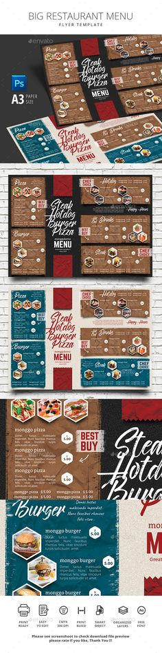 Big Restaurant Menu - Food Menus Print Templates