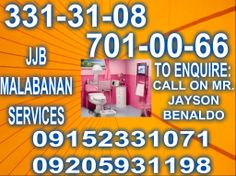 MALABANAN SIPHONING SEPTIC TANK SERVICES TELL#:(02)701-00-66 /(02)331-31-08 CELL#:09152331071 /099983154013 /09205931198  OPEN 24/7 A WEEK BETTER SERVICES ANYTIME,ANYPLACE AFFORDABLE PRIZE AND RELIABLE  LOOK FOR:JAYSON BENALDO  MALABANAN SERVICES OFFERED: *SIPHONING OF SEPTIC TANK *DEC-LOGGING/CLEAR UP CLOOGGED PIPELINES *REMOVE GARBAGE INSIDE SEPTIC TANK VAULT *DRAIN/INSTALL INLET OR OUTLET PIPES *LOCATE/OPEN SEPTIC VAULT SIPHONING SERVICES OFFERED: *CLEAN THROUGH SEPTIC VAULT OR SEPTIC…