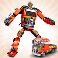 Good quality with original box Flame transform robot 241pcs building blocks children educational toys birthday gift free ship-in Action & To...