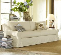 Windsor Slipcovered Sofa | Pottery Barn (in room)