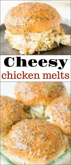 Cheesy Chicken Melts - Oh Sweet Basil - These Creamy Cheesy Chicken Melts are AMAZING! Don't mistake them for the ham sliders you often s - Ham Sliders, Slider Sandwiches, Chicken Sliders, Baked Sandwiches, Good Sandwiches, Tailgate Sandwiches, Turkey Sliders, Party Sandwiches, Chicken Melt Recipe