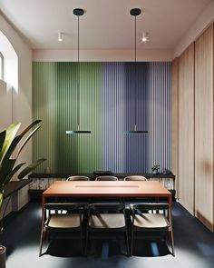 Stylish meeting room👀Love this color gradient! Wall Design, House Design, Led Panel, Recording Studio, Architect Design, Office Interiors, Scandinavian Style, Gradient Color, Decoration