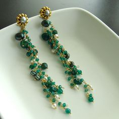 Bonnie Earrings - Emeralds, Freshwater Pearls and Green Onyx at 1stdibs