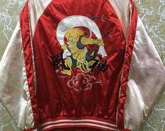 Vintage 80s Japan Sukajan yokosuka embroidery Japanese souvenir jacket L size red colour