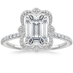 Explore our extensive selection of emerald cut engagement rings! Emerald cut diamonds are known for their sleek and elegant appearance. Dream Engagement Rings, Engagement Ring Cuts, Vintage Engagement Rings, Vintage Rings, Engagement Rings Online, Vintage Silver, Vintage Jewelry, Unique Jewelry, Unique Diamond Rings