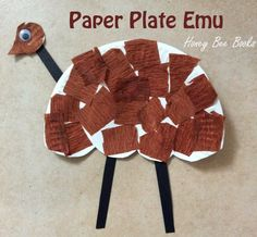 Preschool Crafts for Australia Day- cute paper plate emu