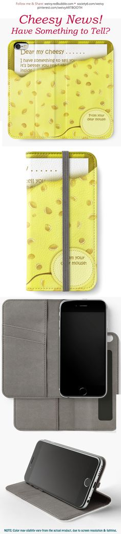 'Cheesy News: Have Something to Tell?' iPhone Wallet by We ~ Ivy Baby On The Way, Laptop Skin, Iphone Wallet, Ipod Touch, To Tell, Ipad Case, Tech Accessories, Laptop Sleeves, Party Invitations