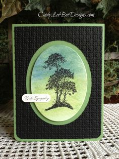 Stampin' Up! ...SU Serene Silhouettes Watercolor Wash ... black and greens ... watercolor wash with tree silhouettes stamped on top ... oval focal point ... embossing folder trellis pattern for the bottom layer ...