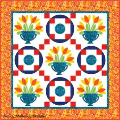 Spring Tulip block from vol. 9 set with Round and Round block from vol. 5. Quilt design by Nancy Mahoney.