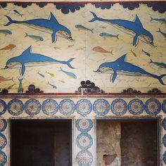 Dolphin fresco, Minoan palace at Knossos, Crete                                                                                                                                                                                 Plus