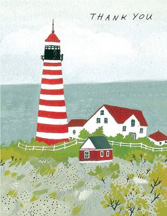 Becca Stadtlander light house card. $3.95, via Etsy.