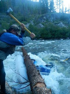 Tony ~ Day 1 Middle Fork of the Salmon River, ID.  Working to free his trapped boat!