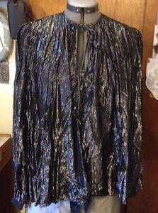 Vintage 70's black silver lame' disco pirate Bowie Ziggy Glam shirt S/M 8