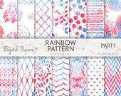 RAINBOW PATTERN, damask, peacock, pastel, white, summer, invites, scrapbooking, craft, printable sheets, background, texture