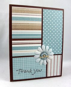 quick paper from the same color set .... blue, kraft, cream ... like how the stripes really emphasize the different papers ... simple and sweet!! ... Stampin' Up!