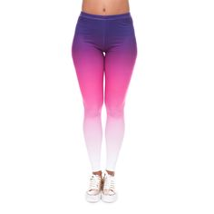 Hot Sale Elastic 3D print Women Leggings Knitted Causal Fitness Pants Gradient Color Purple White Ombre Style Leggings #Affiliate