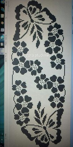 Hand made crochet table runner Butterfly Cross Stitch, Cross Stitch Rose, Cross Stitch Flowers, Cross Stitch Embroidery, Modern Cross Stitch, Cross Stitching, Crochet Table Runner Pattern, Crochet Doily Patterns, Crochet Tablecloth