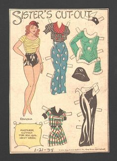 Sister's cut out 1-21-34 Ramona *** Paper dolls for Pinterest friends, 1500 free paper dolls at Arielle Gabriel's International Paper Doll Society, writer The Goddess of Mercy & The Dept of Miracles, publisher QuanYin5