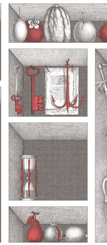 Fornasetti II Nicchie wallpaper by Cole & Son available through Lee Jofa, image of sehlves in black, grey and white with red accents Stunning Wallpapers, Unique Wallpaper, Photo Art Gallery, Piero Fornasetti, Scale Design, Cole And Son, Stained Concrete, Vinyl Flooring, Designer Wallpaper