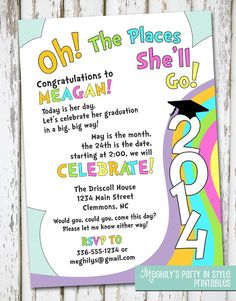 Oh The Places You'll Go  graduation invitation by Meghilys on Etsy, $10.00