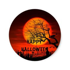Halloween sky on fire cemetery scary trees classic round sticker - black gifts unique cool diy customize personalize