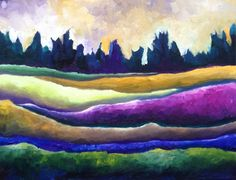 Undulating Fields Abstract Landscape Fine Art by NickySpauldingArt, $30.00