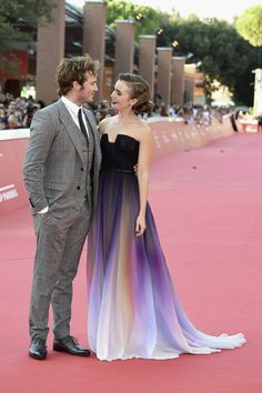 Sam Claflin Couldn't Take His Eyes Off of Her | Lily Collins's Ombré Elie Saab Dress Just Won the Weekend's Red Carpet