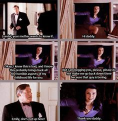 Gilmore Girls - I absolutely LOVE this scene with Richard and Lorelei!