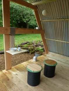 MorphPOD porch with tiny table Shepherds Hut, Small House Design, Garden Inspiration, Tiny House, House Plans, Pergola, Yard, Outdoor Structures, Landscape