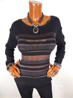 ROCK & REPUBLIC Womens M Top Black Metallic Knit Sweater Blouse Casual Shirt #RockRepublic #Blouse #Casual