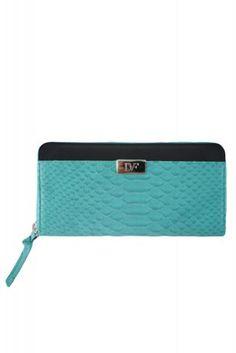DIANE VON FURSTENBERG turquoise zip continental purse  100% leather