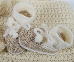 Baby Booties, Handmade, Crochet Baby Clothes, New Baby Gift, Infant Clothing, Gender Neutral Baby Slippers