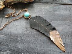 Boho necklace. Boho choker. Tribal necklace. Tribal choker. Leather feather necklace. Antique gold necklace. Turquoise necklace. Boho chic.