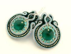blue ring green bling   soutache earrings by KimimilaArt