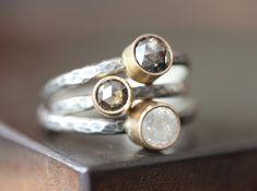Natürliche silbrige White Diamond Stacking Ring - Engagement, Sterling silber, 14kt gold
