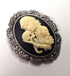 Lady sugar skull cameo brooch by PureSin on Etsy, $16.99
