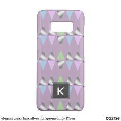 elegant clear faux silver foil geometric triangles Case-Mate samsung galaxy s8 case
