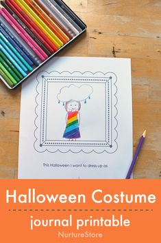 halloween writing prompt for children, printable Halloween journal page
