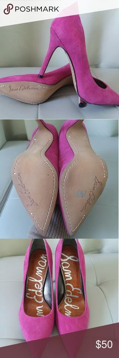 Sam Edelman Hot Pink Pumps Super sexy hot pink pumps with crocodile skin accent. Perfect for a hot date or party  Perfect condition- No flaws or staining. Sam Edelman Shoes Heels