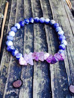 Sodalite and Amethyst Anxiety Relief Bracelet by EmilysReikiBracelets
